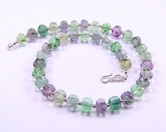 Carved Fluorite Sterling Silver Necklace - N859