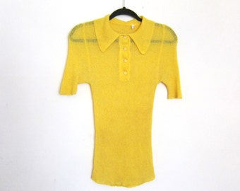 1970s Yellow Rayon Knit Sheer Polo Button Down Butterfly Collar Fitted Top Blouse Hippy Size S/M