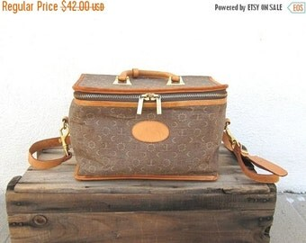 20% Off Sale SALE Vintage Moon Canvas and Tan Leather Train Case Cosmetic Bag w/Shoulder Strap By El Portal