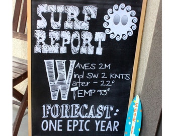 Surf Report Faux Chalkboard (24x36) Digital file - Perfect for a surf or beach party!