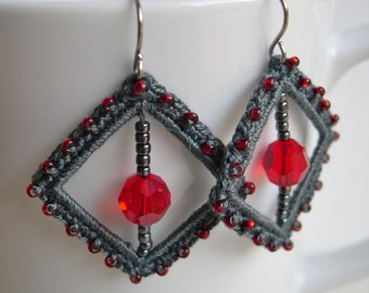 Square crochet earrings - Grey and Red square earrings - crochet lace earrings - Bridesmaid earrings - Gray and red fashion earrings