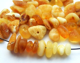 50pcs - Natural Baltic amber beads, unpolished rounded beads, light yellow natural amber, honey color amber,  6-9 mm at widest part (#50)