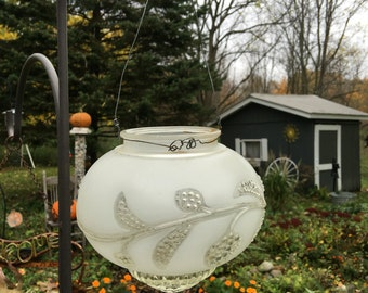 Vintage glass candle holder, Retro Lighting, hanging vase, Vintage glass Light Fixture, glass garden decor, garden lamp, glass candle holder