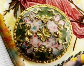 Victorian Painted Enamel Button
