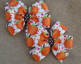 Fall Hair Bow Thanksgiving Hair Bow Pumkin Hair Bow Hair Clip pumpkin hair bow set pigtail hair bows