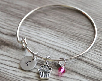 Cupcake Bangle, Personalized Initial and Birthstone, Baking Bangle, Birthday Gift Bangle, Cake Bangle, Cupcake Bracelet Hand Stamped