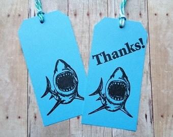 Shark Party Tags Thanks Kid's Birthday Favor Tag Shark Week