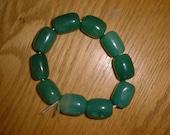 Varied JADE Beads Bracelet 10 Large Beads Gorgeous Green