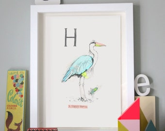 Happy Heron, Animal Alphabet Gicleé print with Neon Tape