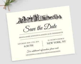 New York City skyline save the date; NYC city skyline; SAMPLE ONLY