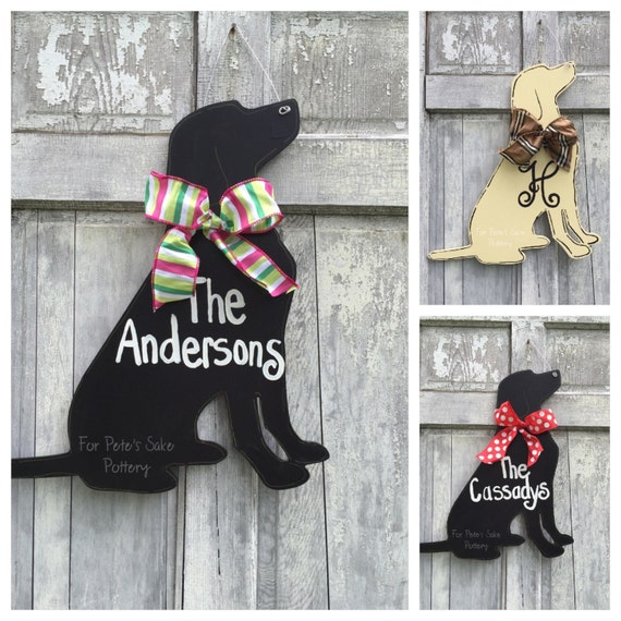Hand painted, personalized, custom, dog, door hanger for your home or pet