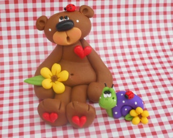 FREE SHIPPING! Polymer Clay Bear and Snail SET