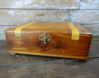 Vintage Wooden Box Cedar Ornate and Solid