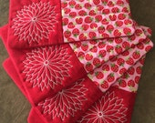 Quilted Strawberry Mug Rugs, Set of 4