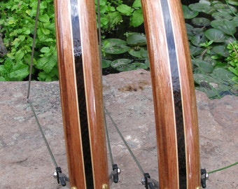 Wood Bicycle Fenders- Fully Shaped Compound Curve Mahogany with Wenge center stripe.  Mud guard, bike, touring bike, urban, wood, woody, NYC