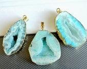 Druzy pendant Geode pendant Agate slice pendant 24kt, Gold Plated Edge Geode agate Pendant in Baby blue color, gemstone Pendant, JSP-6987