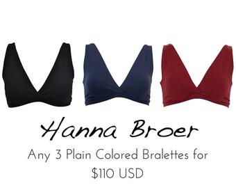 3 PLAIN Coloured Bras Combo