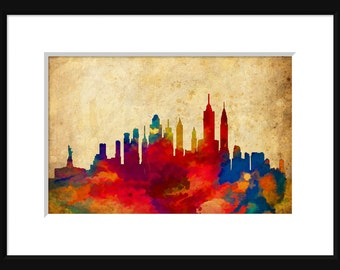 New York Skyline Typography Print Poster Map Abstract Grunge