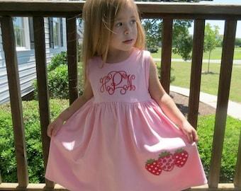 SALE, Strawberry Dress, Appliqued Dress, Embroidered Dress, Monogrammed Dress, Toddler Dress, Summer Dress, Sundress