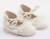 Baby Shoes, Baby Gift, Baby girl shoes, White baby Shoes, Leather baby shoes, crystal, silk and pearl embellished baby shoes by Vibys