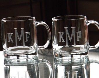 Set of 4 Monogrammed Glass Coffee Mugs - 13oz each Hand Engraved
