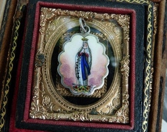 Antique French Enamel Hand painted Virgin Mary Religious Medal , A Rare Talisman, offered by RusticGypsyCreations