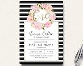 First Birthday Invitation Girls Flower Boho Black White Stripe Gold Girls Watercolor