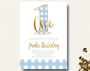Boys First Birthday Invitation Buffalo Check Light Blue Baby Blue Gold