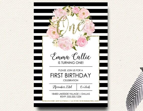 First Birthday Invitation Girls Flower Boho Black White Stripe - Black and white striped birthday invitations