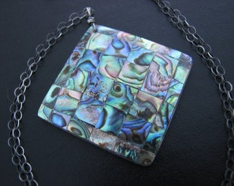 Abalone Shell Necklace Colorful Paua Iridescent Abalone Mosaic Pendant Oxidized Sterling Silver Necklace