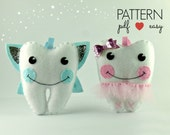 Tooth Fairy Pillow Sewing Pattern - Felt Pattern - Craft Fair Pattern - Tutu Tooth Cushion - Tooth Shaped Pillow -  Plushie - Softie