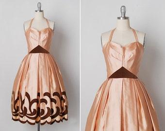 vintage 1950s dress / 50s applique dress / pink satin dress / Amandine dress