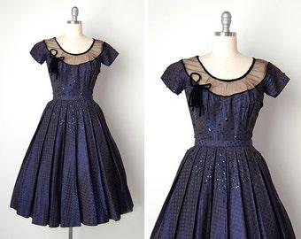 vintage 1950s dress / 50s dotted dress / blue taffeta gown / L'Aquila dress