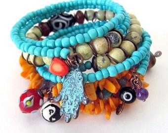 Evil eye jewelry protection amulet voodoo magic talisman bracelet talisman jewelry beaded memory wire bracelet stack