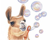 5x7 Llama Watercolor Print - Llama Painting, Art print, Bubbles, Funny Watercolor