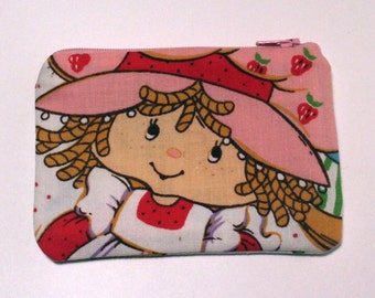 Strawberry Shortcake Zipper Pouch - Small Zip Pouch Coin Purse Wallet - Upcycled made from vintage fabric
