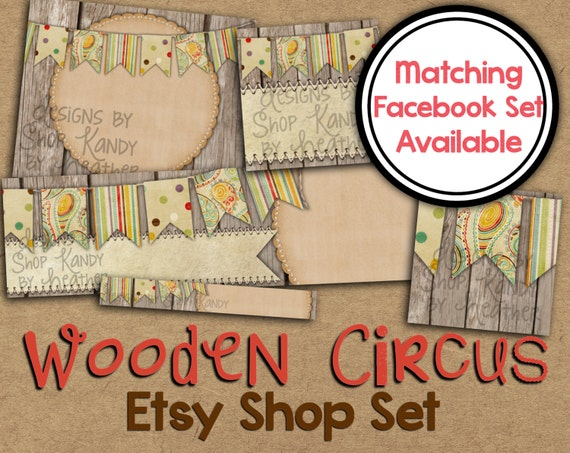 Etsy banner set wooden circus etsy shop banner vintage for Etsy shop policies template