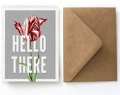 Vintage Botanical Stationery Set - Hello There Tulip Notecard Set- 5 Cards with Kraft A2 Envelopes. Blank Cards Gift Botanical Card - S01