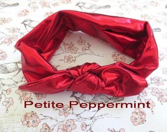 Red Baby Headband, Nylon Baby Head Wrap, Knotted Bow headband, Baby Headband Bow, Top Knot Headband, Bow Knot Headband