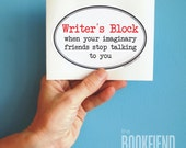 writer's block oval bumper sticker