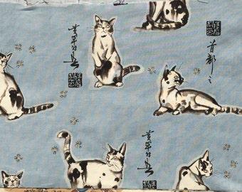 Alexander Henry 'haiku cat' blue-gray fabric 1998 XL long quarter yard