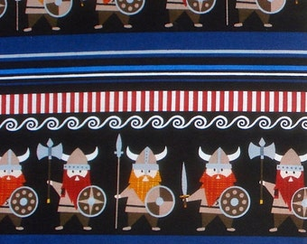 Vikings Stripe black organic cotton Timeless Treasures fabric FQ or more WASHED