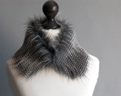 Faux fur collar with beige and grey stripes. Faux fur neck warmer. Womens faux fur collar. Fake fur collar. Fake fur scarf.