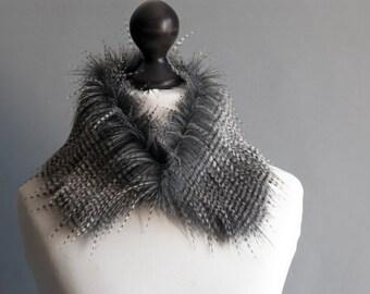 Faux fur collar with beige and grey stripes. Faux fur neck warmer. Womens faux fur collar. Fake fur collar. Fake fur scarf.