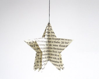 Star Christmas tree Ornament made of vintage paper by renna deluxe