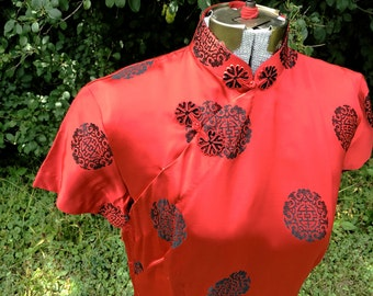 Vintage 1950s Cheongsam // Red Asian Party Dress // Satin Dress // Womens Vintage Halloween Costume // 50s Plus Size Large XL