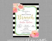 Bachelorette or Bridal Shower Invite 5x7 - Kate Spade Style with Flowers - DIGITAL FILE
