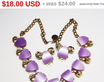 Mid Century Modern Necklace Earrings Set - Purple Lucite Demi Parure - Triangle Shaped Cabs - MoonGlow Style Cabochons