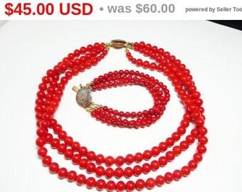 Vintage Red Multistrand Necklace Bracelet Demi Set - Karla Jordan Retro 1970's Triple Strand Designer Signed