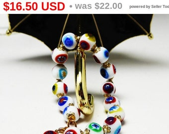 Millefiori Bead Bracelet - Murano glass White Beads w/Red Blue, Black, Yellow & Green - Hand knotted Beaded Bracelet - Vintage 1970s